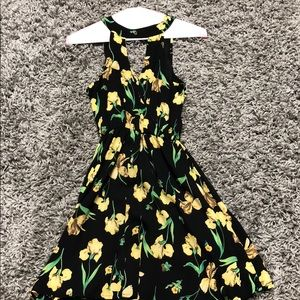 Lush Dresses - black mini dress with yellow flower design